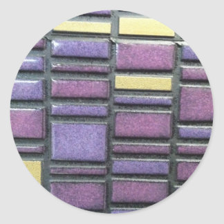 Purple and Blue Ceramic Tile Remix Classic Round Sticker