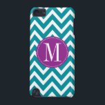 "Purple and Blue Chevron Custom Monogram iPod Touch (5th Generation) Case<br><div class=""desc"">Protect your iPod with this trendy and modern chevron pattern case. Write your first name initial on the template to personalize. You can change the blue stripes color by clicking the Customize it button - Edit Menu - Background.</div>"