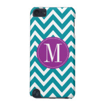 Purple and Blue Chevron Custom Monogram iPod Touch (5th Generation) Case