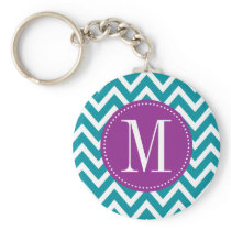Purple and Blue Chevron Custom Monogram Keychain