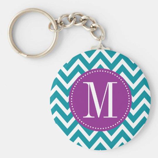 Purple and Blue Chevron Custom Monogram Keychain