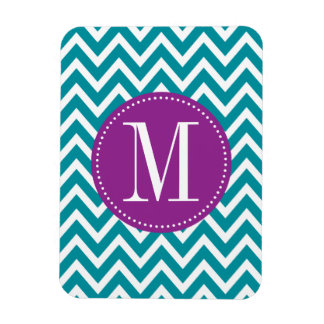 Purple and Blue Chevron Custom Monogram Magnet