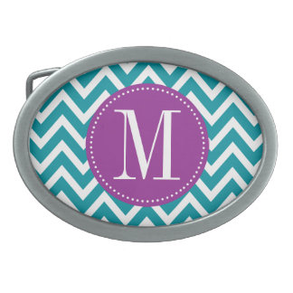 Purple and Blue Chevron Custom Monogram Oval Belt Buckle