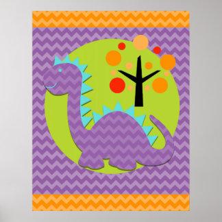 Purple and Blue Chevron Dragon Nursery Poster