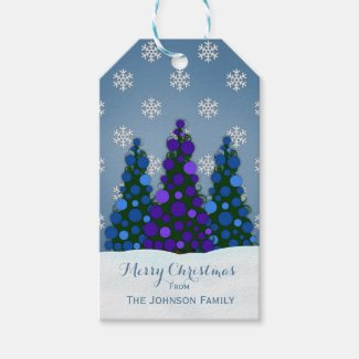 Purple And Blue Christmas Tree Gift Tags