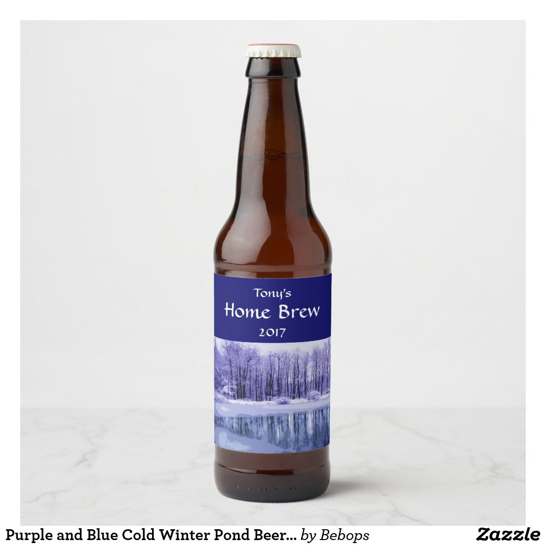 Purple and Blue Cold Winter Pond Beer Label