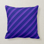 [ Thumbnail: Purple and Blue Colored Stripes/Lines Pattern Throw Pillow ]