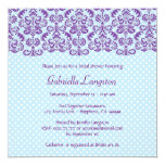 Purple and Blue Damask Lace Bridal Shower BR014 5.25x5.25 Square Paper Invitation Card