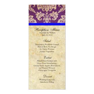 Purple and Blue Damask Reception Menu Card