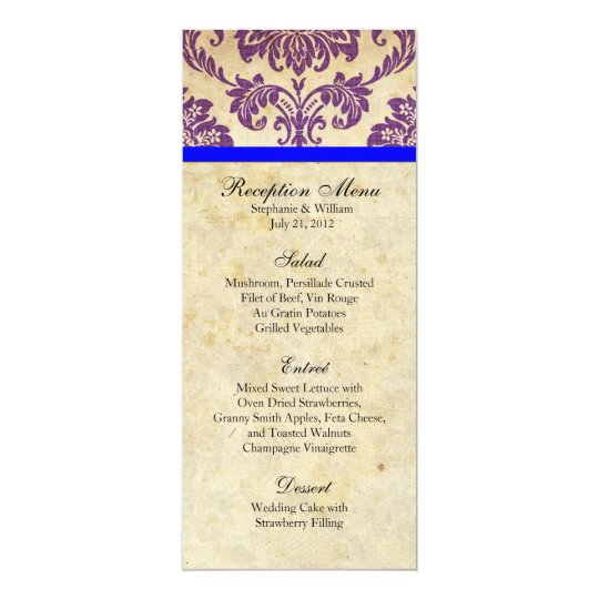 Purple and Blue Damask Reception Menu Card
