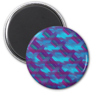 Purple and Blue Diagonal Plaid Magnet