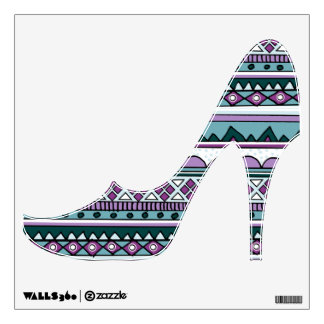 Purple and Blue Ethnic tribal high heeled shoe Wall Sticker