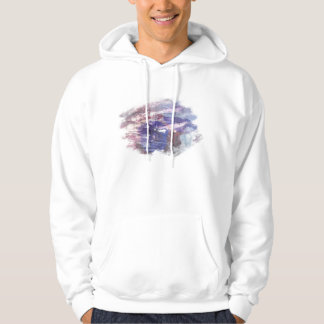 Purple and blue faded rose scratched art print hoodie