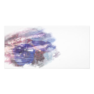 Purple and blue faded rose scratched art print custom photo card