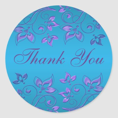 "Purple and Blue Floral 1.5"" Round Thank You Classic Round Sticker"