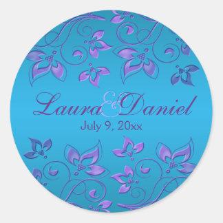 """Purple and Blue Floral 1.5"""" Round Wedding Sticker"""