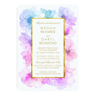 Purple and Blue Floral Gold Frame Wedding Card