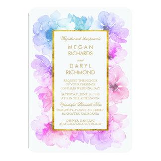 Purple and Blue Floral Gold Frame Wedding Invitation