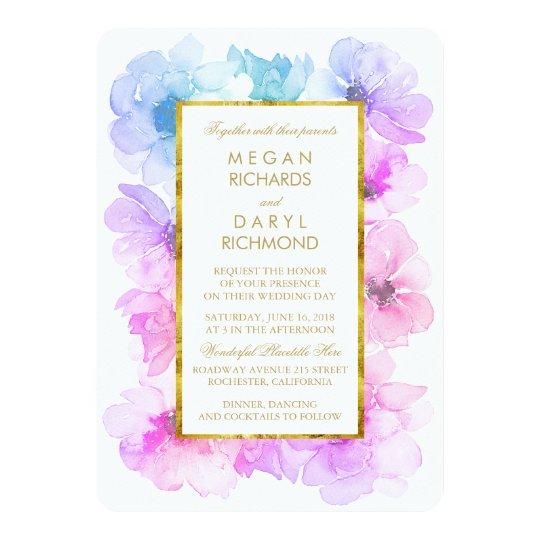 Purple And Blue Fl Gold Frame Wedding Invitation