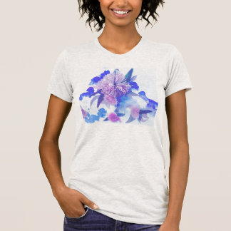 Purple and Blue Floral Print Top Shirts