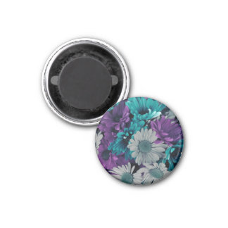 Purple and Blue Flower Smash 1 Inch Round Magnet