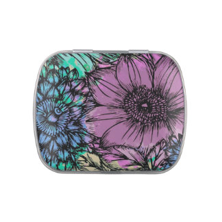 Purple and Blue Flowers Stash, Pill or Candy Box Jelly Belly Tins