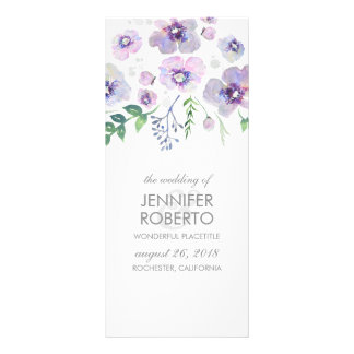 Purple and Blue Flowers Watercolor Wedding Program
