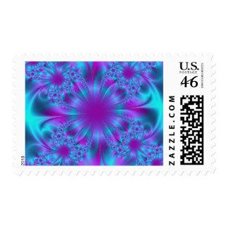 Purple and Blue Fractal Design Stamps