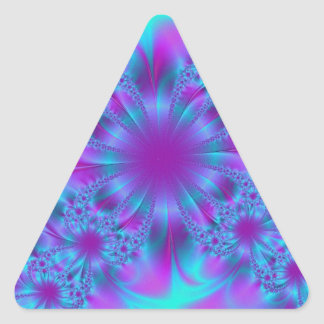 Purple and Blue Fractal Design Triangle Sticker