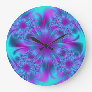 Purple and Blue Fractal Design Wall Clock