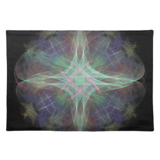 Purple And Blue Fractal Pattern Placemats