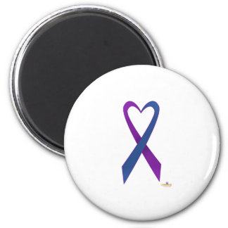 Purple And Blue Heart Shaped Awareness Ribbon 2 Inch Round Magnet