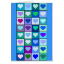 Purple and Blue Heart Squares Card