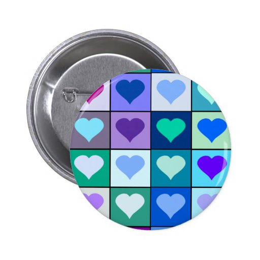 Purple and Blue Heart Squares Pinback Buttons