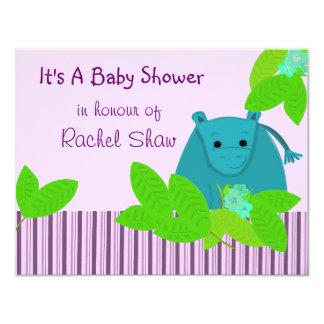 "Purple and Blue Hippo Baby Shower Invitation 4.25"" X 5.5"" Invitation Card"