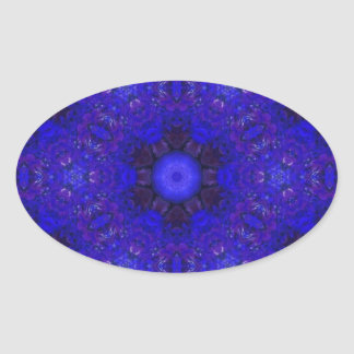 Purple and Blue in 3D Oval Sticker