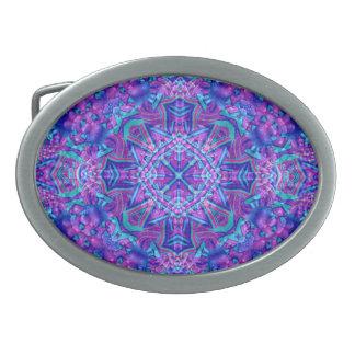 Purple And Blue Kaleidoscope  Belt Buckle