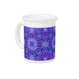 Purple And Blue Kaleidoscope  Porcelain Pitchers
