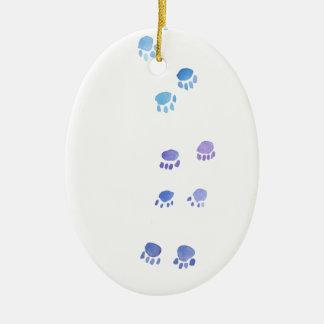 Purple and Blue Kitty Paw Prints Ceramic Ornament