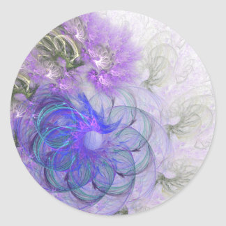 Purple and Blue Lacy Abstract Flower Design Classic Round Sticker