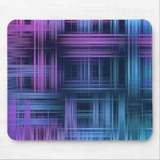 Purple and Blue Modern Plaid Mouse Pad