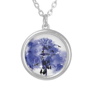 Purple and Blue Nature Tree Bird Design Round Pendant Necklace