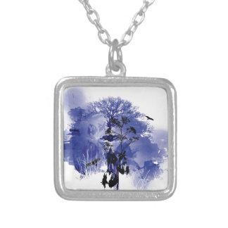 Purple and Blue Nature Tree Bird Design Square Pendant Necklace