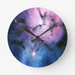 Purple and Blue Nebula Round Wallclocks