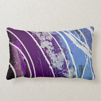 Purple and Blue Painted Abstract Art Lumbar Pillow