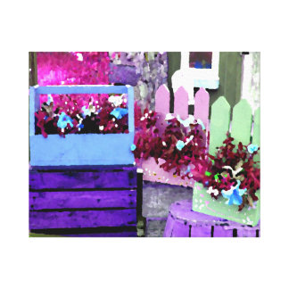 Purple and Blue Pansy on Flower Cart Canvas Print