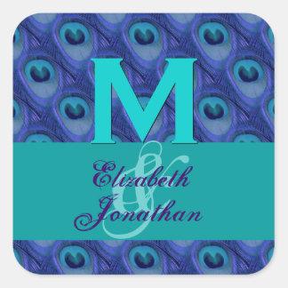 Purple and Blue Peacock Monogram Wedding 2 Square Sticker