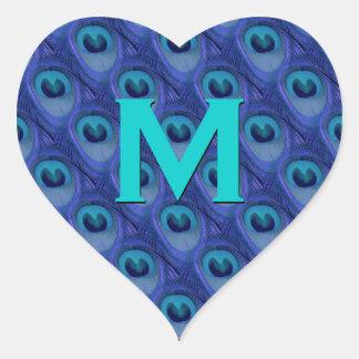 Purple and Blue Peacock Monogram Wedding Heart Heart Sticker