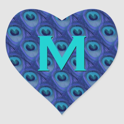 Purple and Blue Peacock Monogram Wedding Heart Heart Sticker