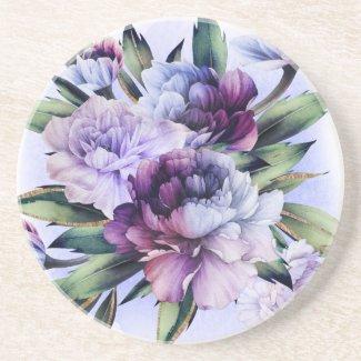 Purple and Blue Peonies Art Sandstone Coaster
